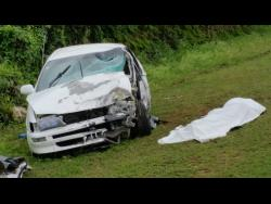 The Toyota Corolla in which taxi driver Leonard Clarke died in a motor vehicle accident last Thursday in Trelawny.
