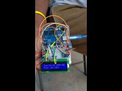 A prototype of Bryan's remote patient monitor.