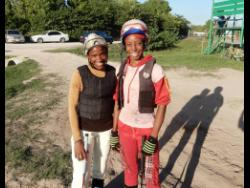 Female apprentice jockeys Abigail Able (left) and Tamicka Lawrence.