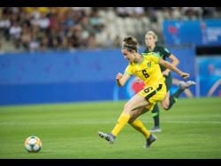 FILE Reggae Girl Havana Solaun shoots and scores in Jamaica's first-round encounter against Australia in the FIFA Women's World Cup in 2019.