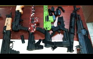 The assault rifles that were seized last Monday in Montego Bay.