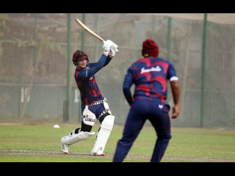 Josua Da SIlva plays an attacking shot during his innings of 56 in the West Indies Iner-squad match at the BKSP Ground in Dhaka yesterday.