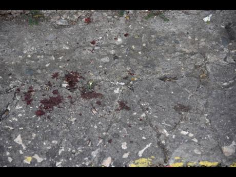 Dried blood drops are a reminder of the carnage that took place when gunmen opened fire.